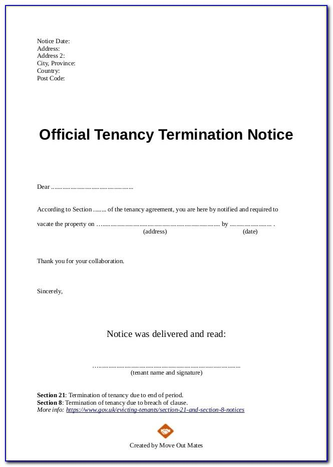 Notice Of Termination Of Lease By Landlord Sample South Africa
