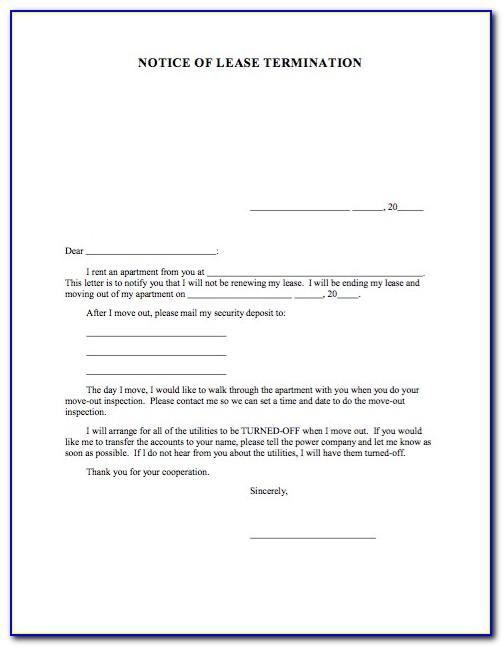 Notice Of Termination Of Lease By Landlord Sample