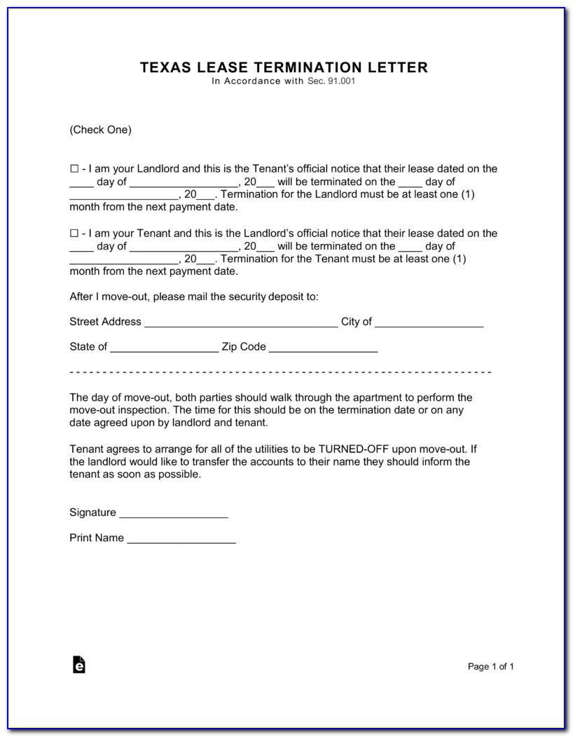 Notice To Vacate Texas Form Free