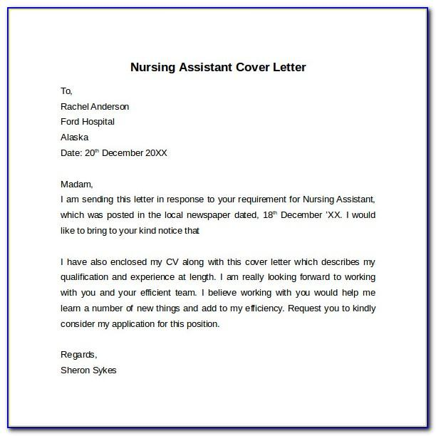 Nurse Assistant Cover Letter Example