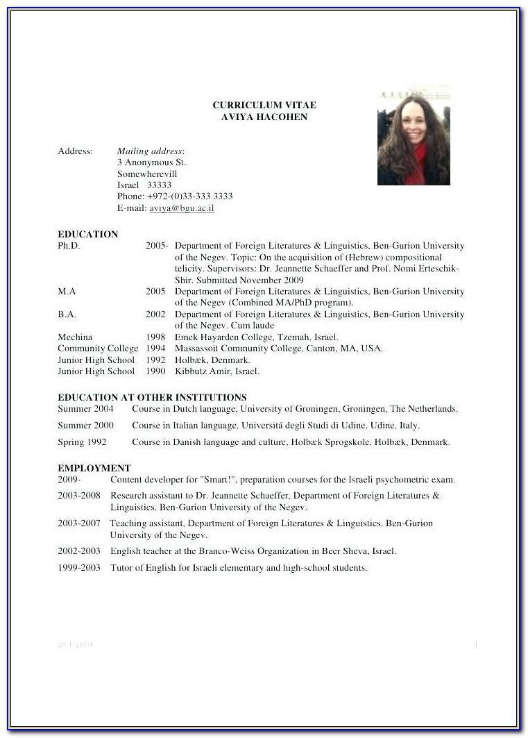 Nurse Curriculum Vitae Template