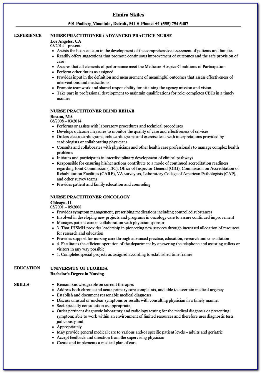 Nurse Practitioner Curriculum Vitae Examples