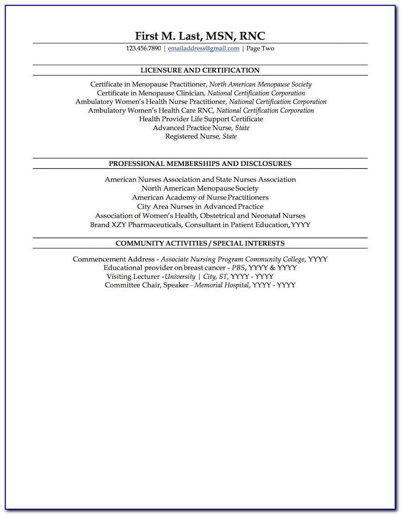 Nurse Practitioner Curriculum Vitae Sample