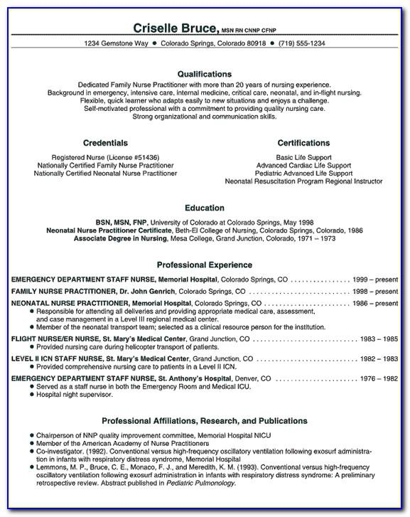 Nurse Practitioner Resume Format