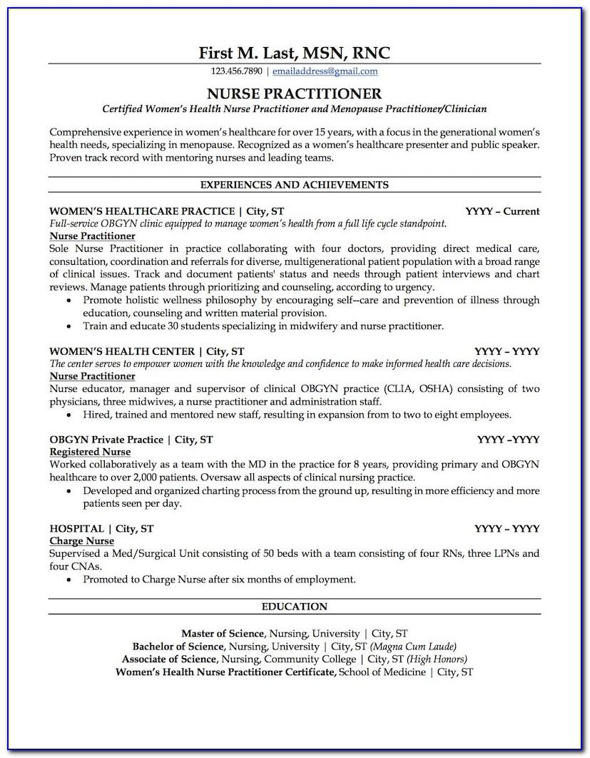 Nurse Practitioner Student Resume Example