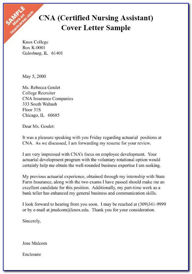 Nursing Assistant Cover Letter Example