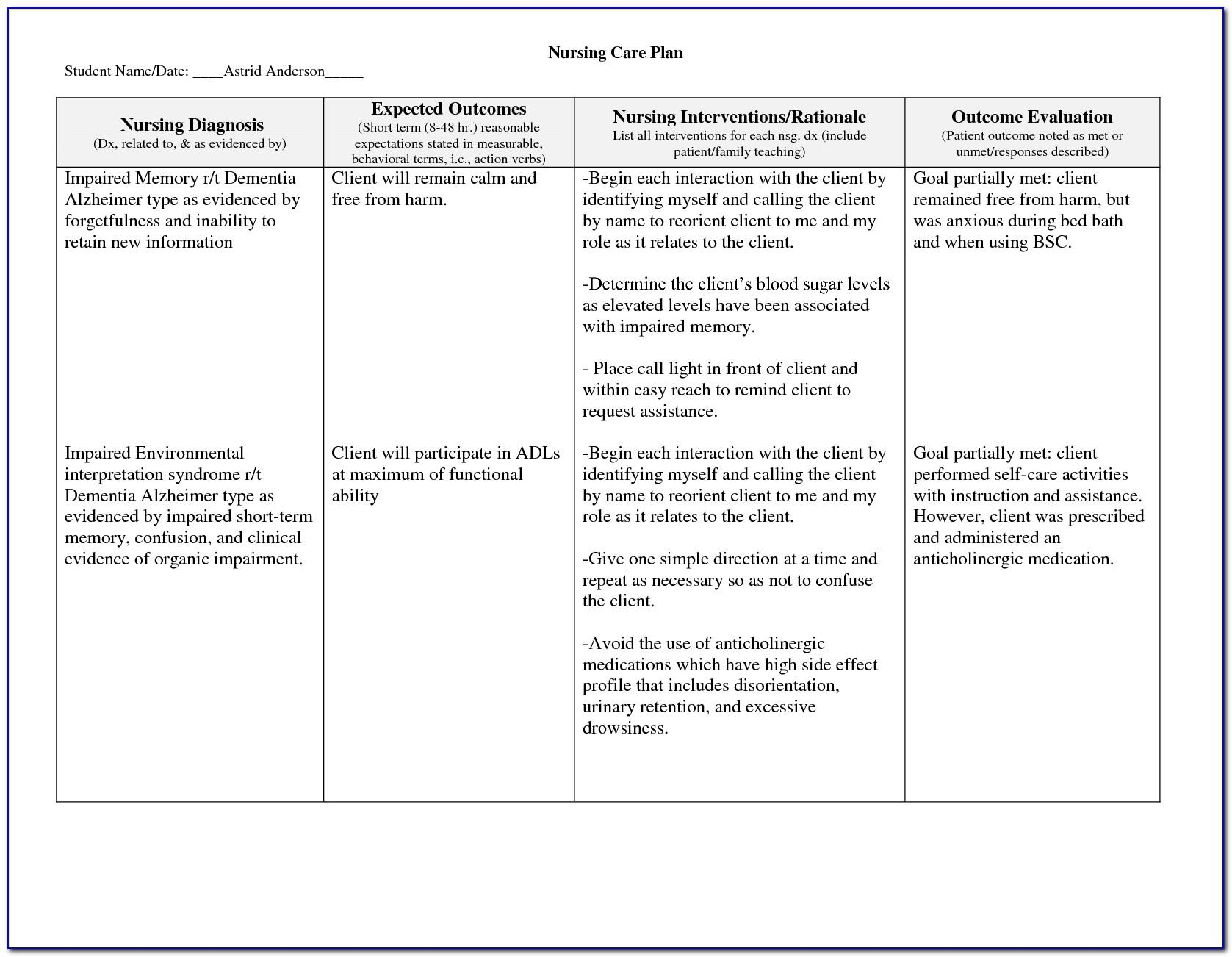 Nursing Care Plan Dementia Example