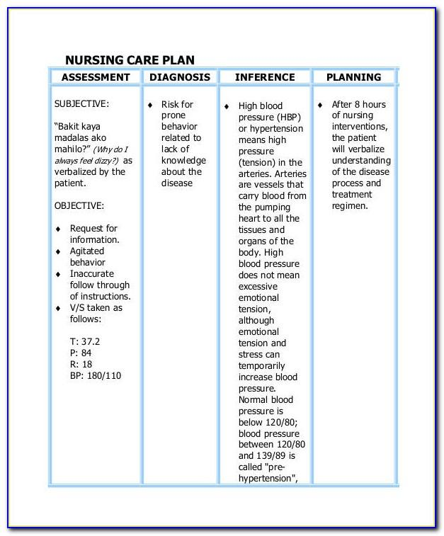Nursing Care Plan Examples Nz
