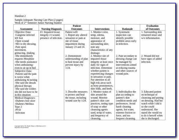 Nursing Care Plan Sample Pdf