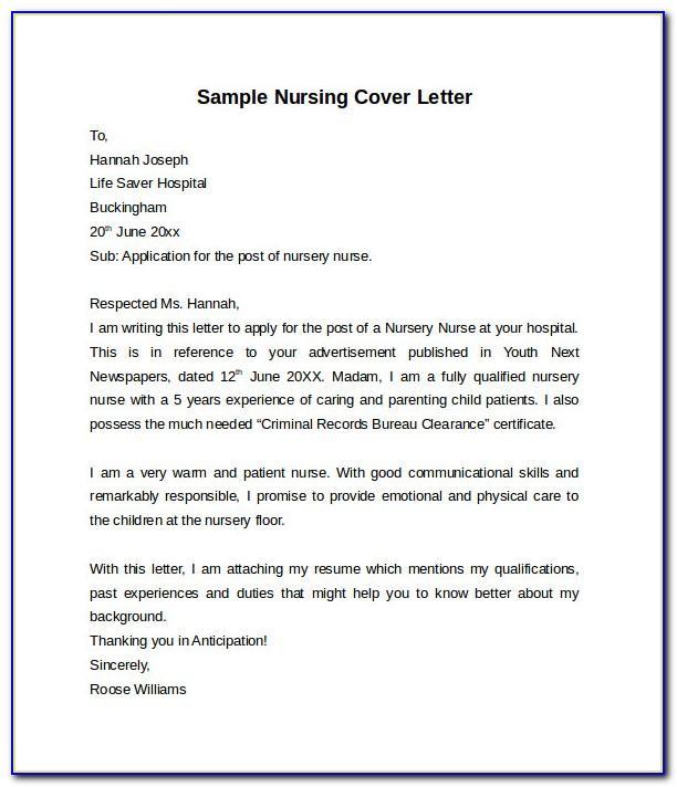 Nursing Cover Letter Template Free