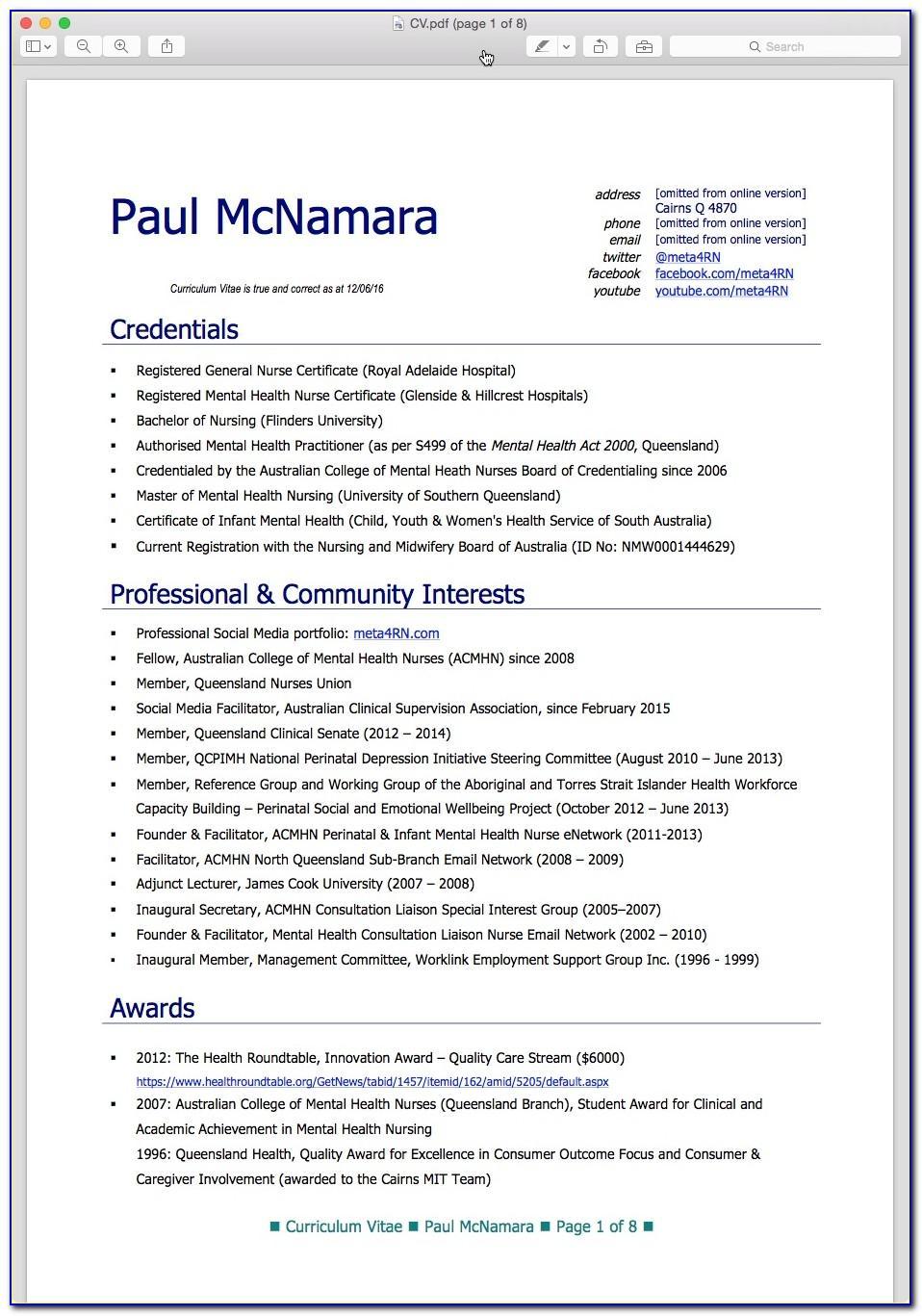Nursing Curriculum Vitae Template Australia