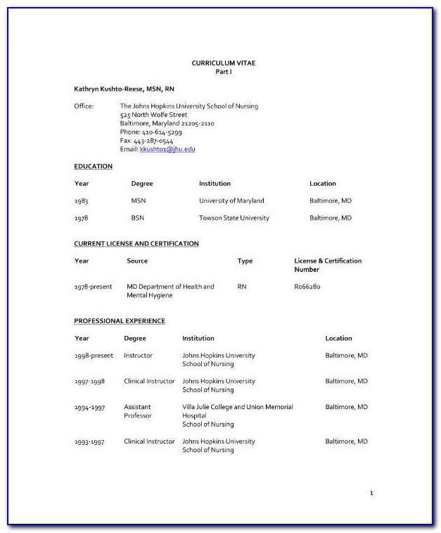 Nursing Cv Template Doc