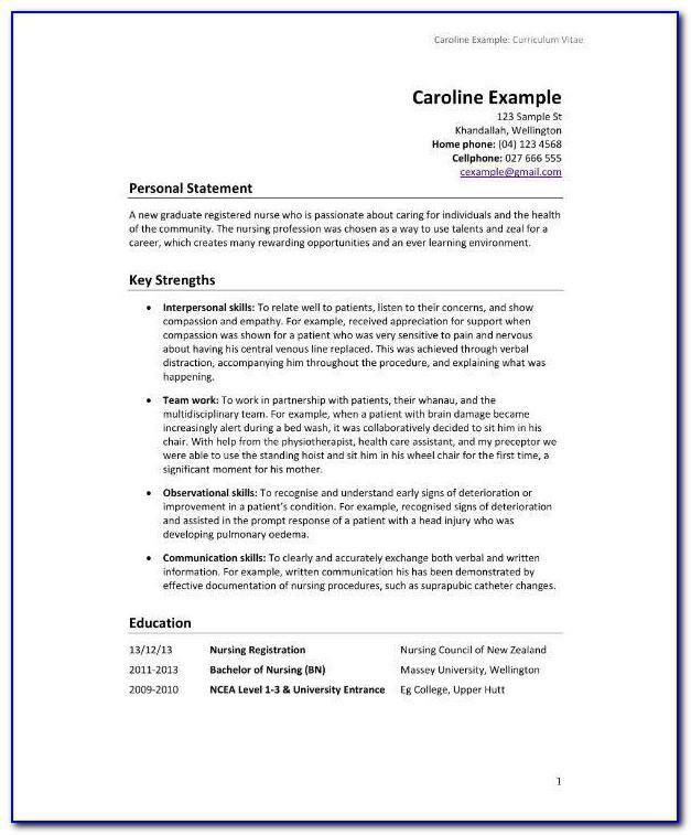Nursing Cv Templates New Zealand