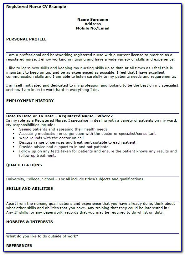 Nursing Cv Templates Uk