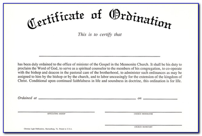 Ordained Minister Certificate Template