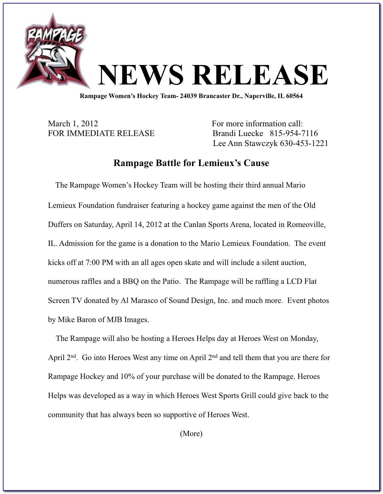 Press Release Example Non Profit Organization