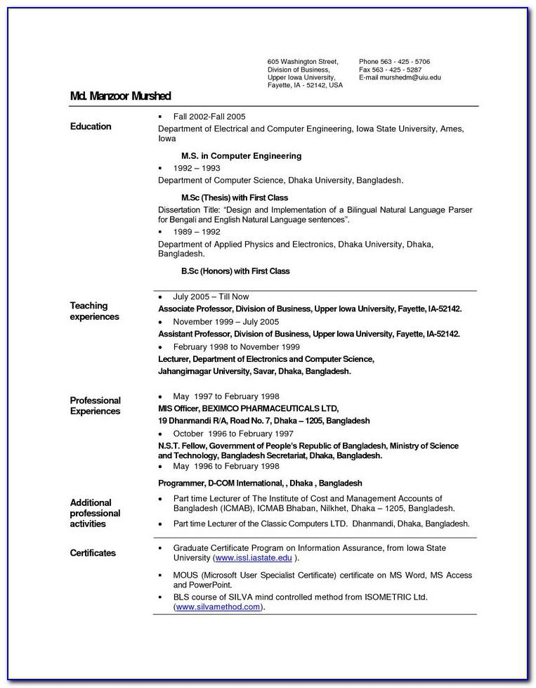 Resume Format For Experienced Mechanical Engineering Candidates