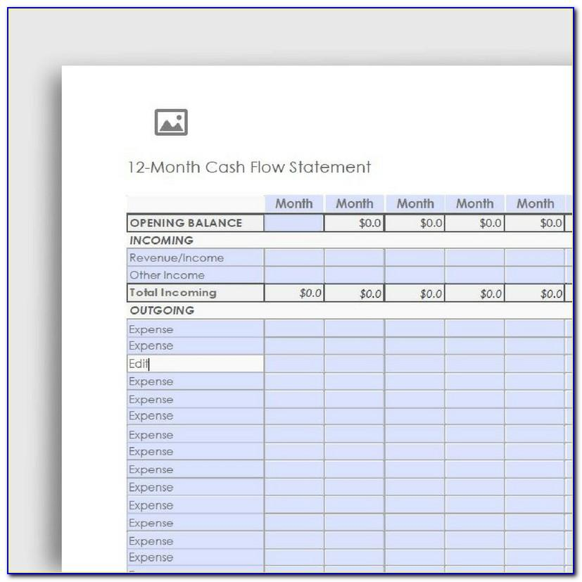 Sample Monthly Cash Flow Statement Excel