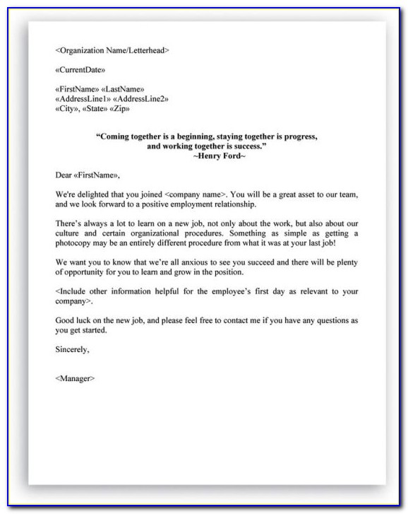 Sample New Employee Orientation Welcome Letter