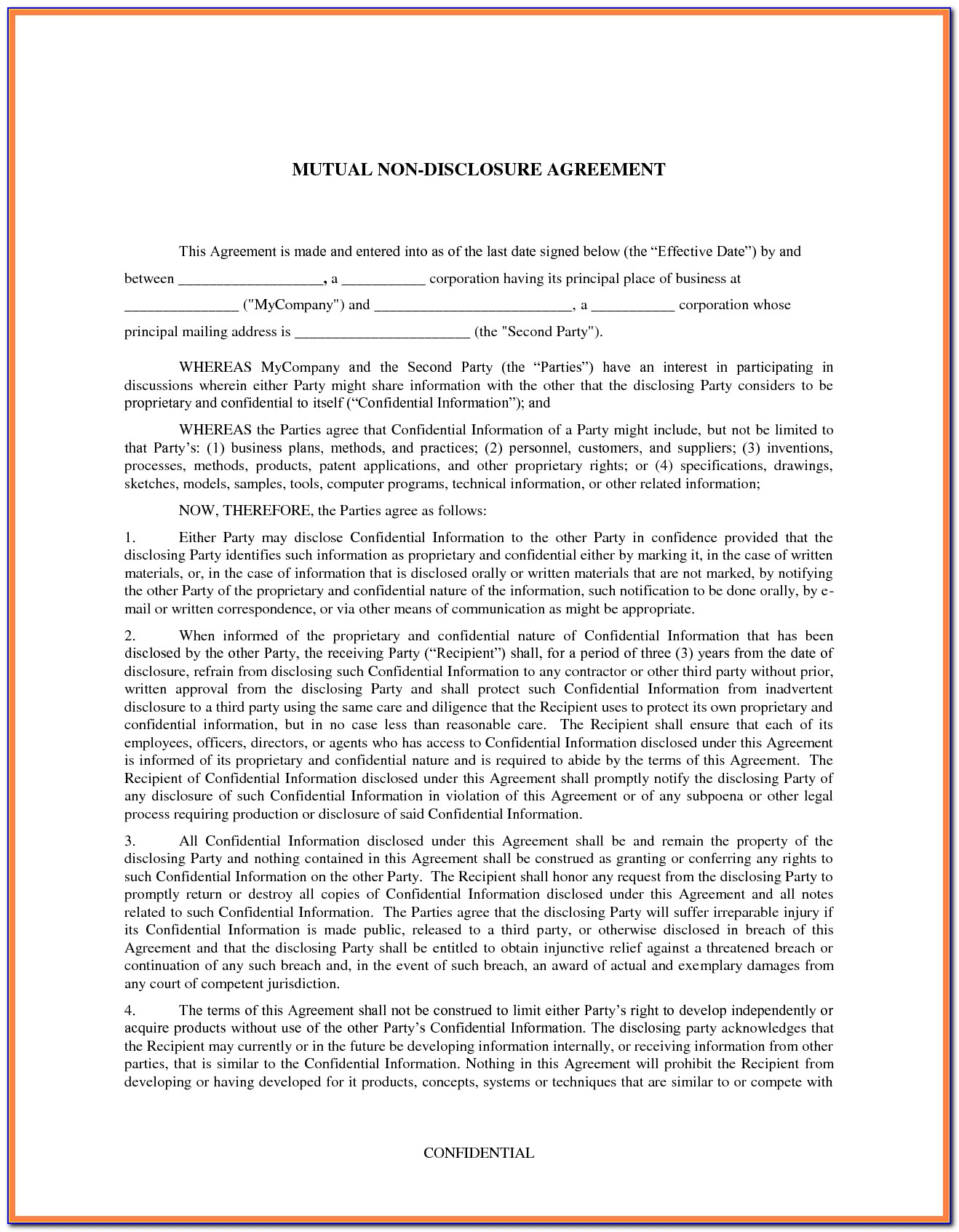 Sample Non Disclosure Agreement Template Canada
