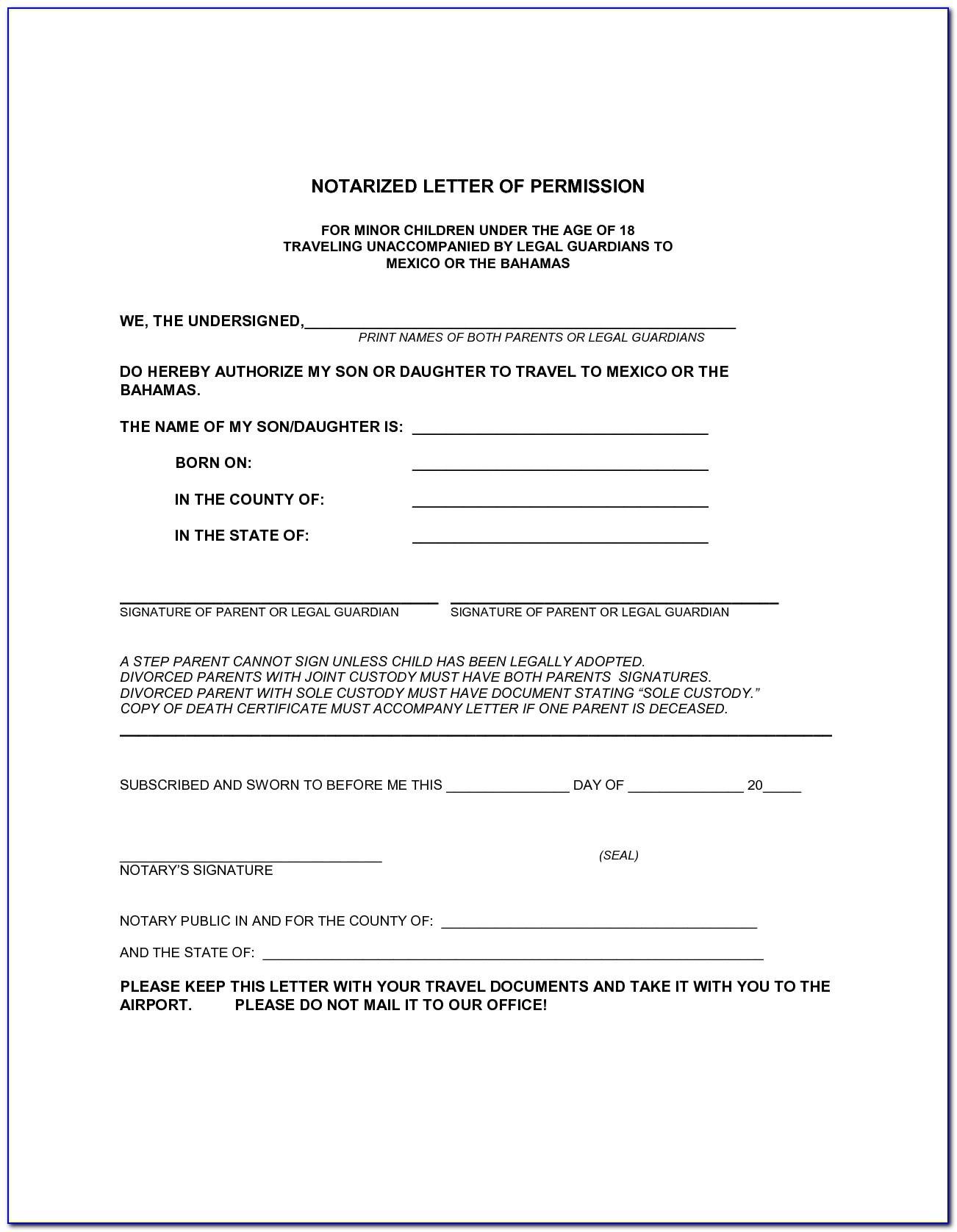 Sample Notarized Letter For Travel With Child Canada