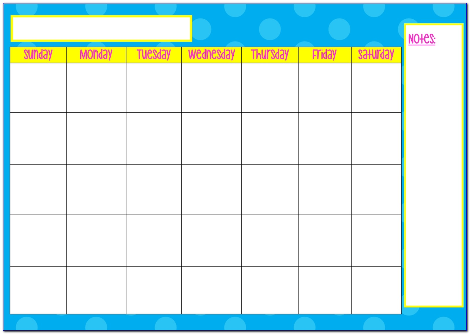 Saturday Through Friday Calendar Template