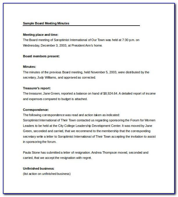 Simple Meeting Minutes Sample Doc