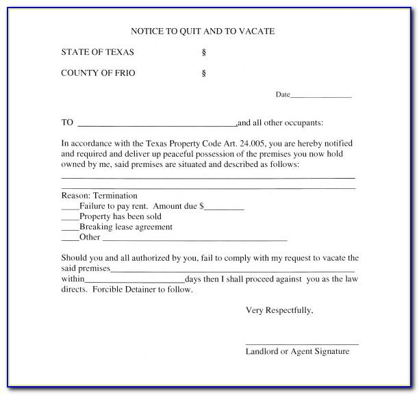 Texas Notice To Vacate For Unpaid Rent Template