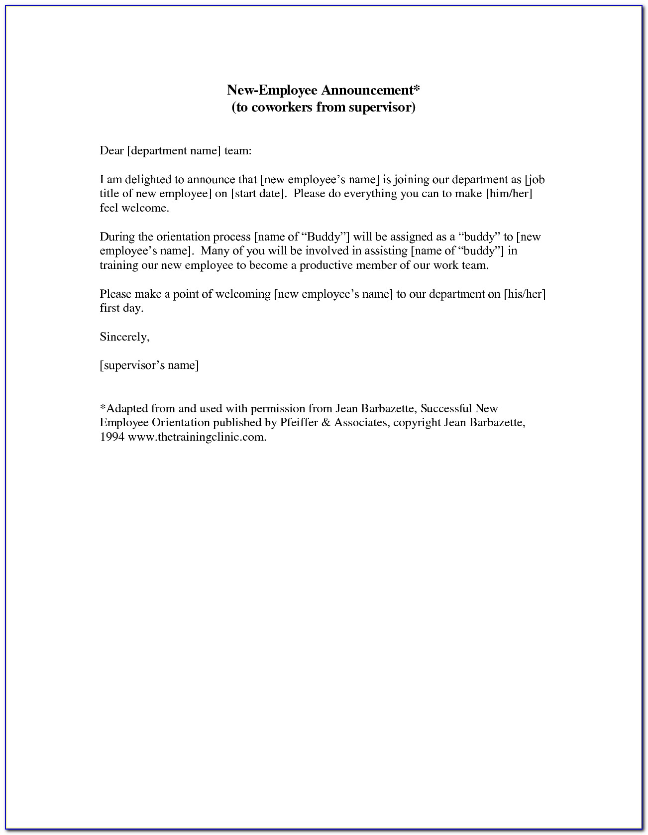 Welcome New Employee Announcement Email Template