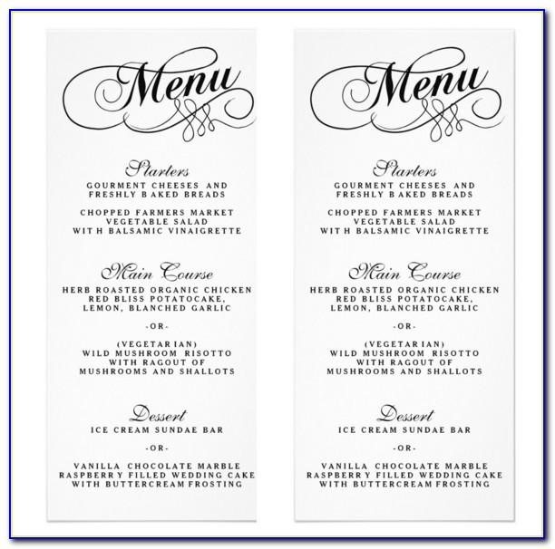 Word Wedding Menu Template