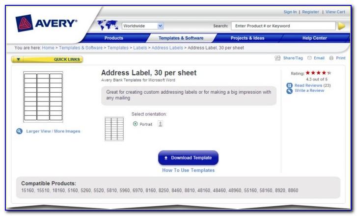 Address Label Template Microsoft Word
