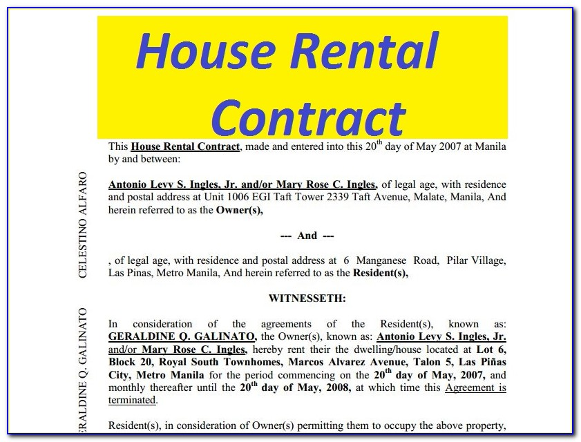 Apartment Lease Contract Sample Philippines
