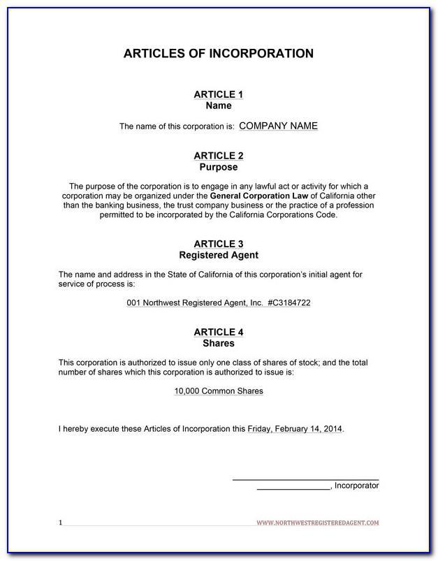 Articles Of Incorporation California Llc Sample