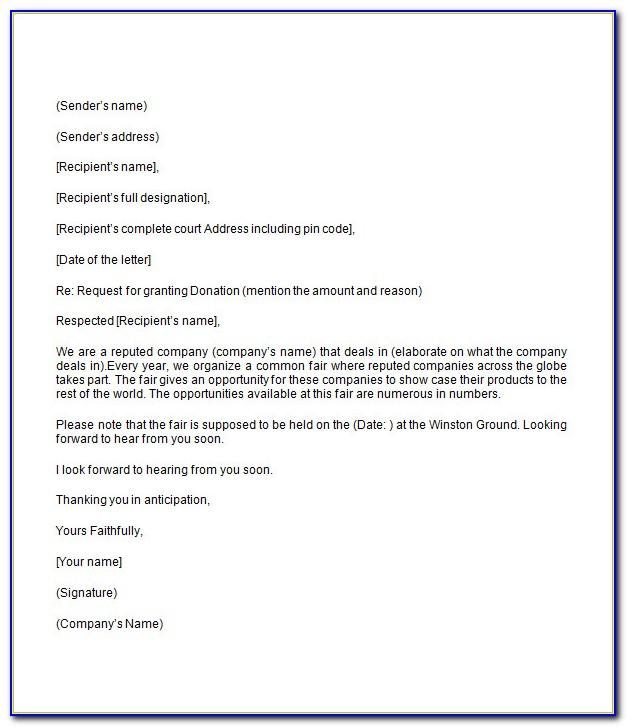 Ask For Donation Letter Template