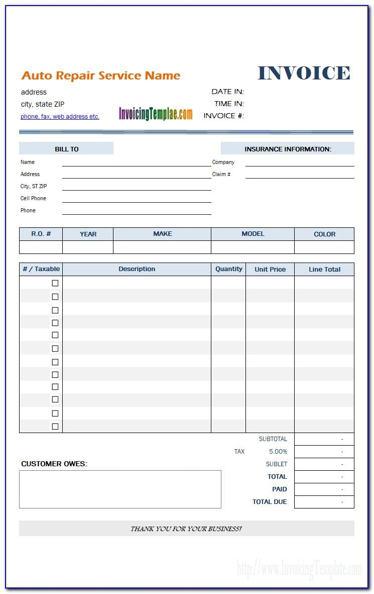 Auto Mechanic Invoice Template Free