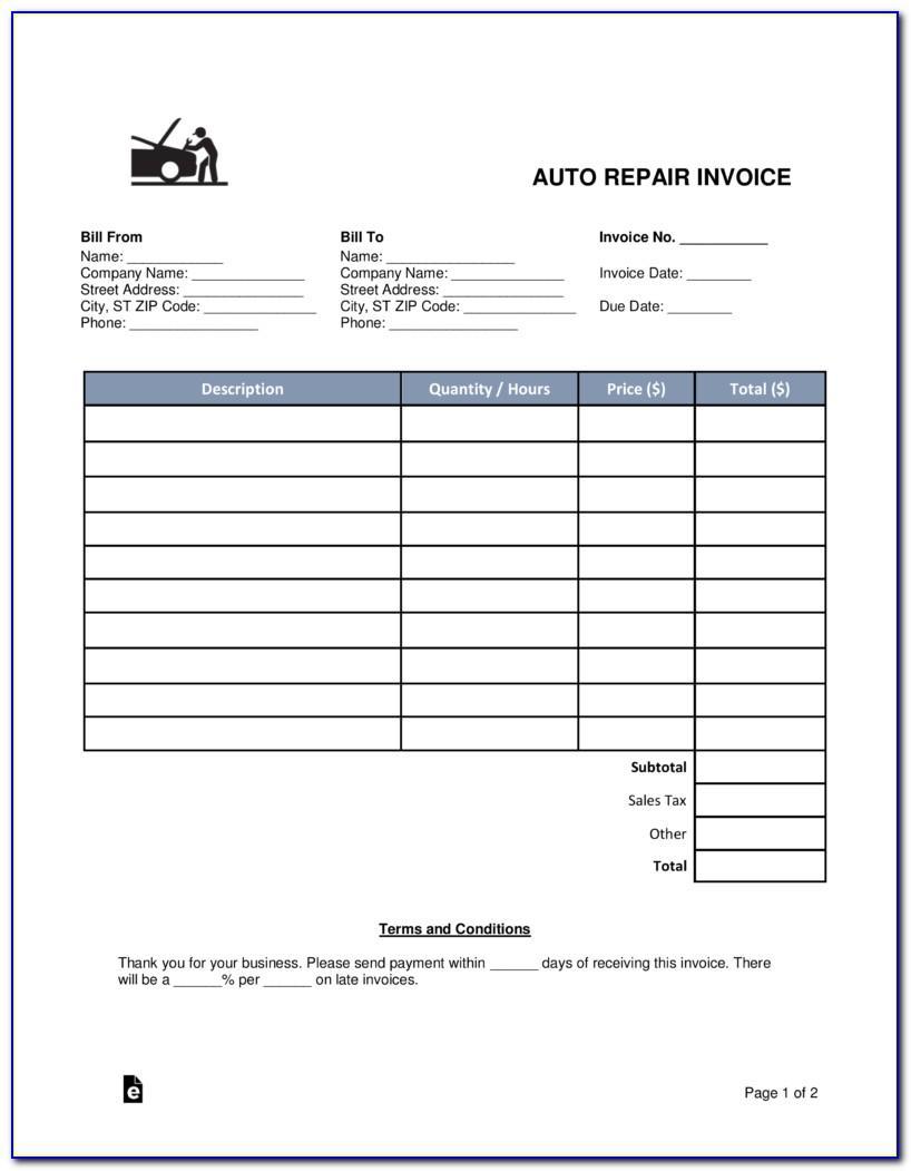 Auto Repair Invoice Template Pdf