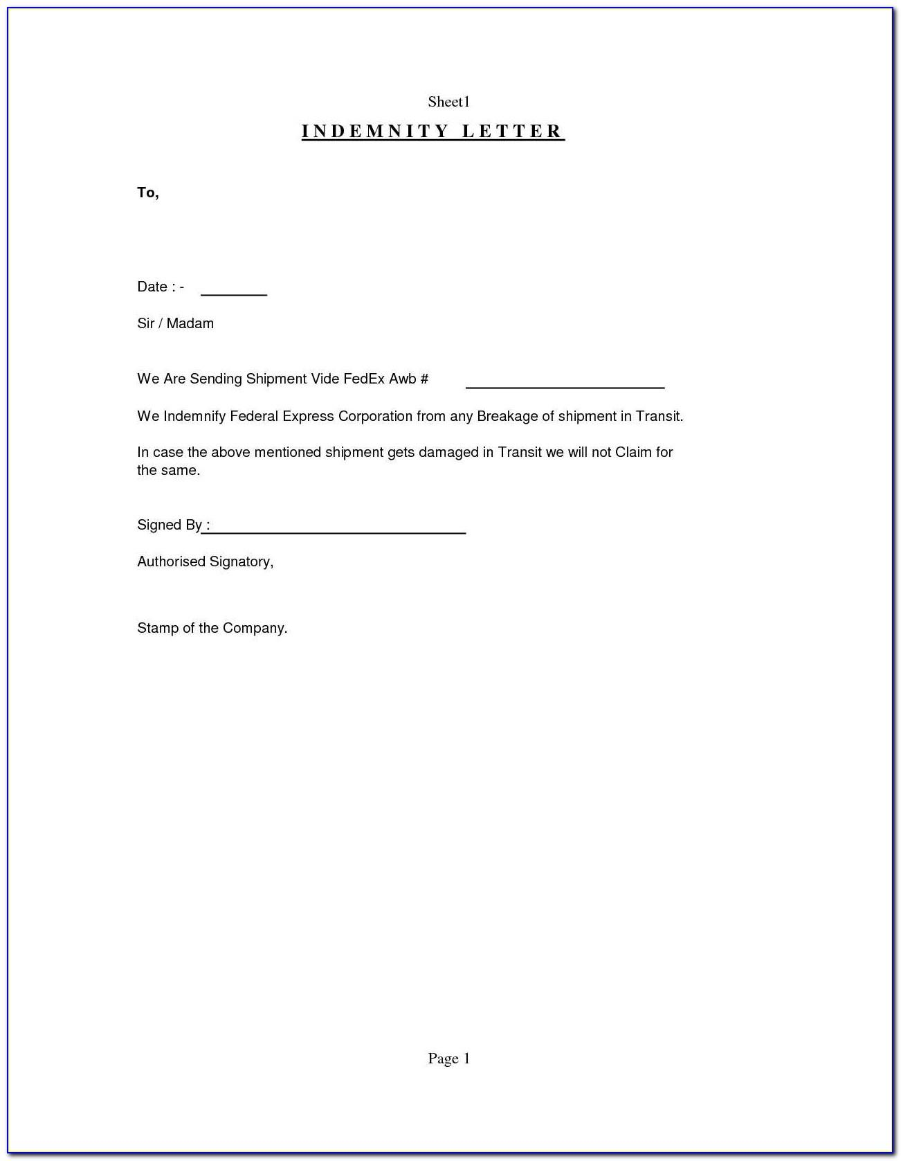 Bank Letter Of Indemnity Template