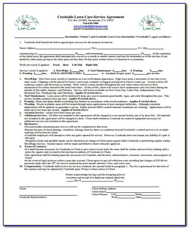 Basic Lawn Care Contract Template