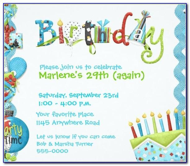 Birthday Invitation Template Free Printable