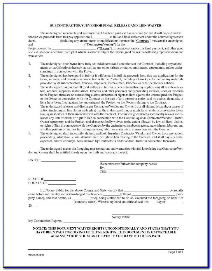 Blank Lien Waiver Form Mn