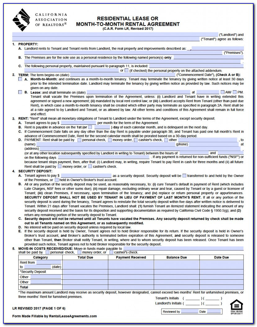 California Commercial Lease Agreement Form Pdf