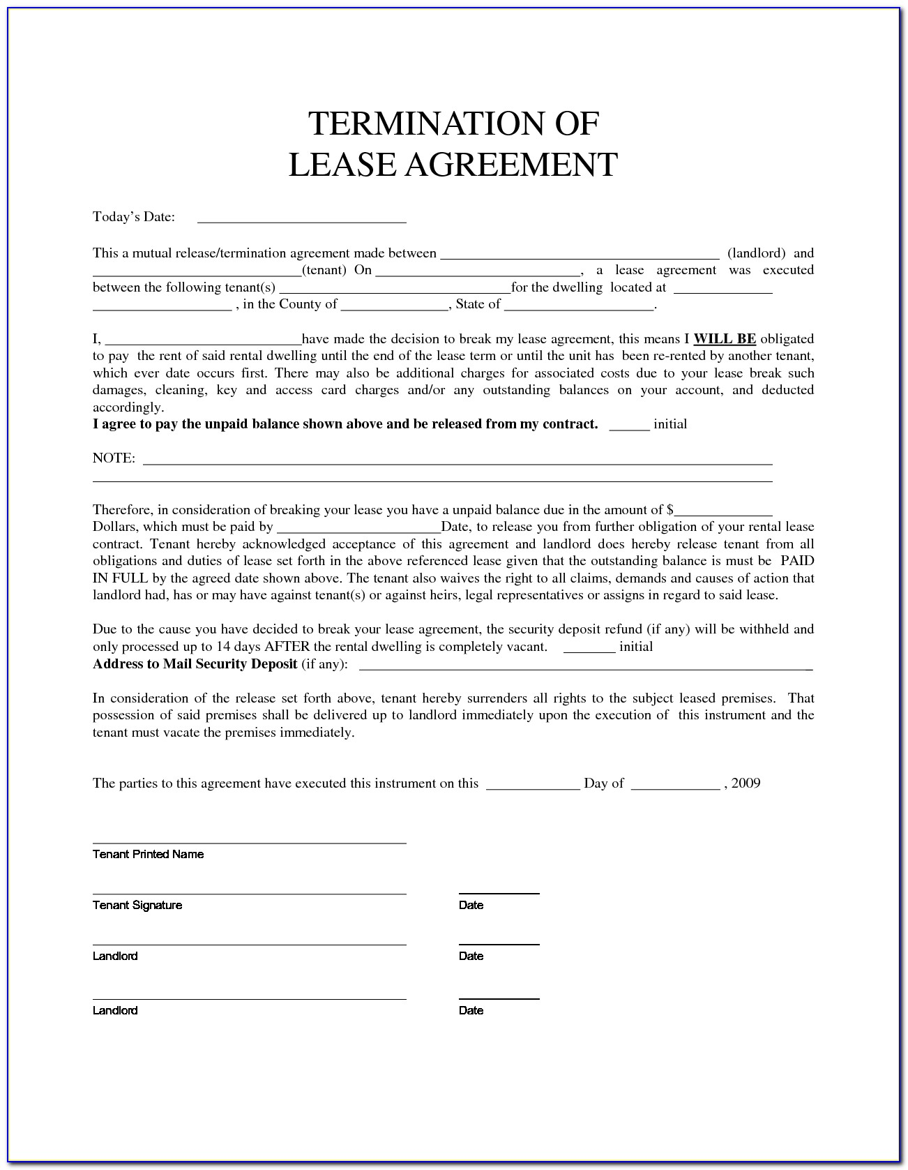 California Lease Termination Agreement Forms