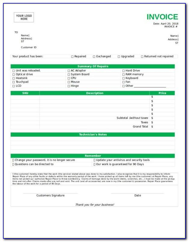 Car Mechanic Invoice Template Free