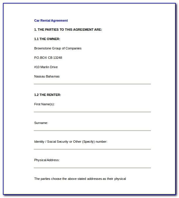 Car Rental Agreement Word Document