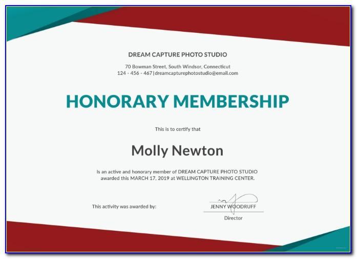 Club Life Membership Certificate Template