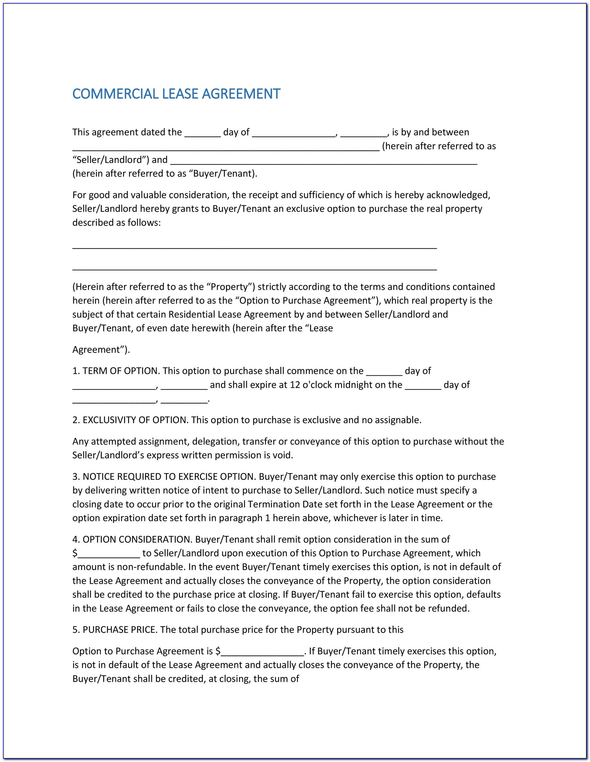 Commercial Lease Agreement California Template