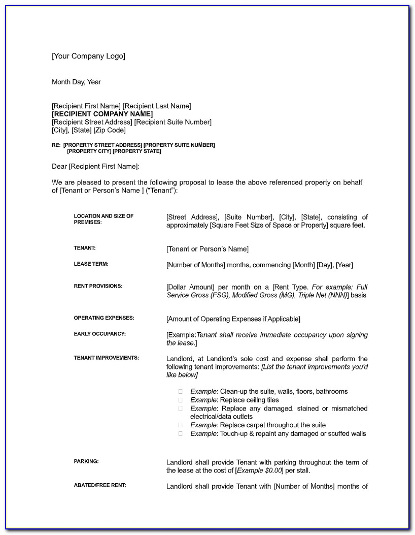 Commercial Lease Letter Of Intent Example