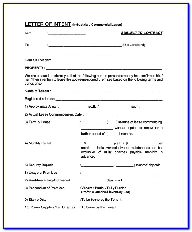 Commercial Lease Letter Of Intent Sample