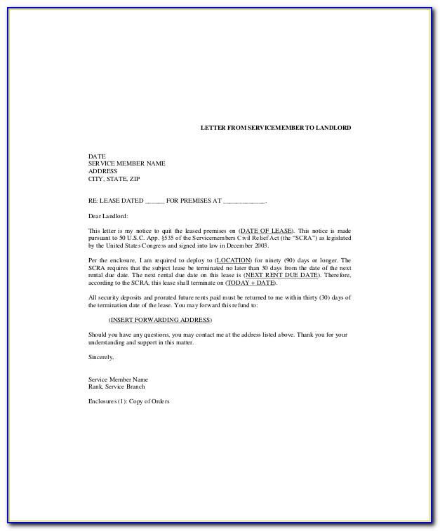 Commercial Lease Termination Letter To Landlord Template