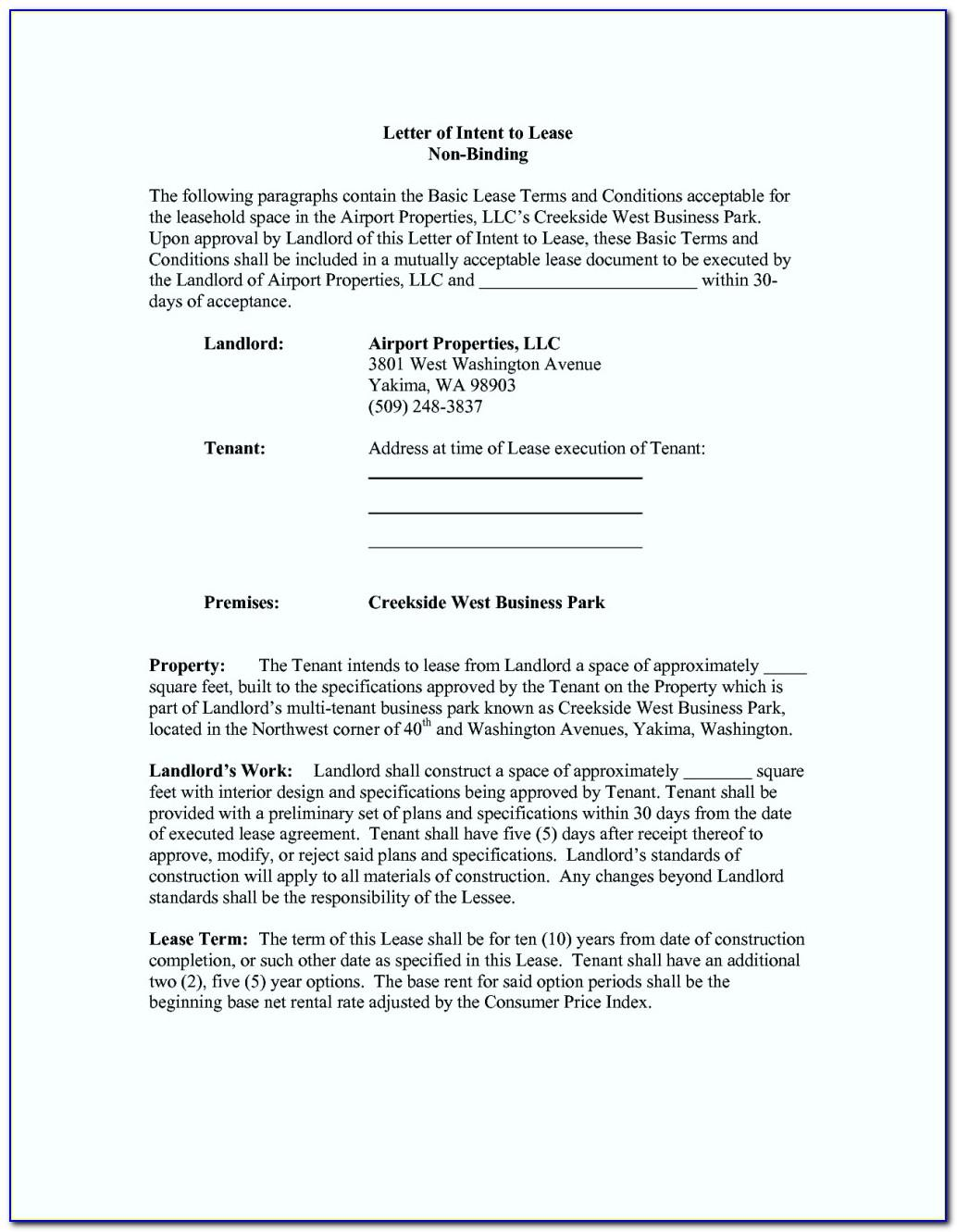 Commercial Letter Of Intent To Lease Sample